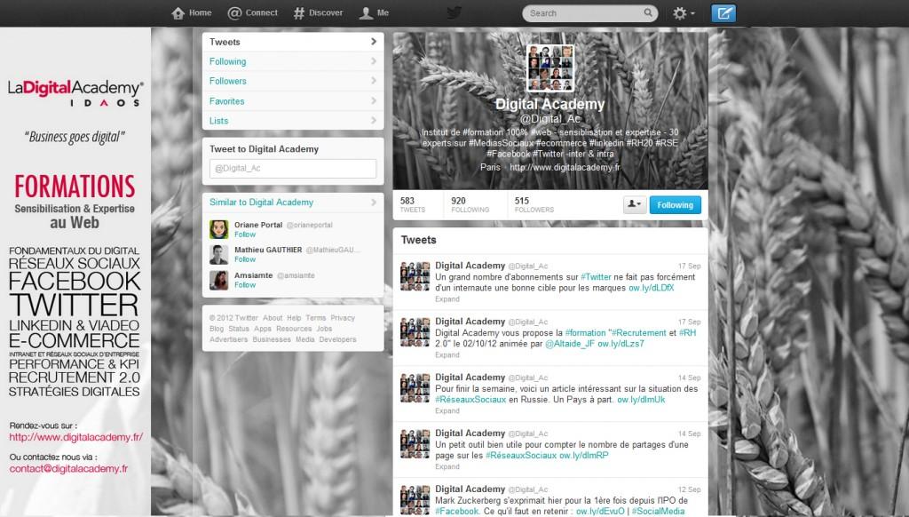 Refonte Design Page Twitter Digital Academy