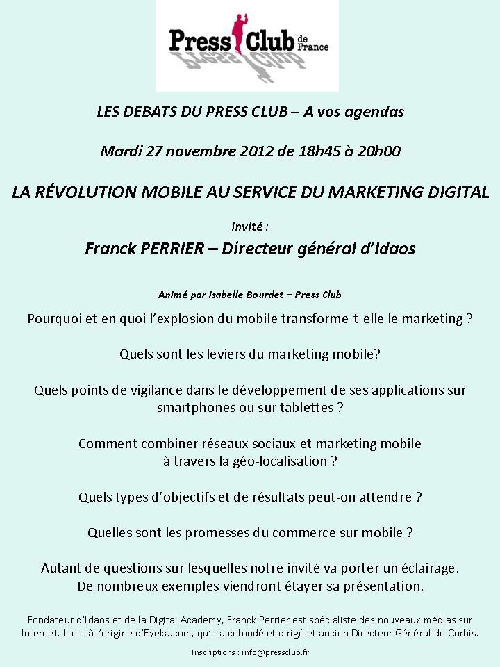 Débats du Press Club : La révolution mobile au service du marketing digital