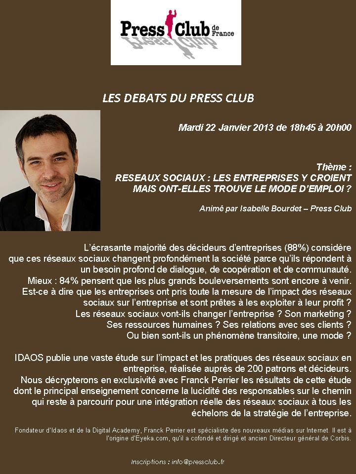 Débats du Press Club : les réseaux sociaux et les entreprises